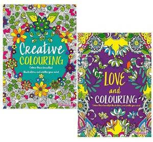 Set of 2 Adult Colouring Book Stress Relief Relaxing Art Floral Pattern Activity