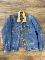 DISTRESSED VTG 80's Wrangler Blue Jean DENIM Trucker Jacket Blanket Lined USA XL
