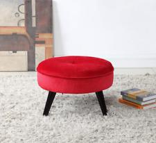 Large Red Velvet Footstool Tufted Footrest Vanity Stool Ottoman Pouf Bedroom New