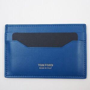 NWT TOM FORD Card Case Wallet Holder Blue Azur Grain 11 x 7 cm 100% Calf Leather
