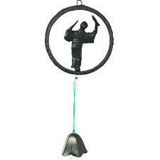 Japanese Furin Wind Chime Nanbu Iron Black Dancer w/ Lily Bell, Made in Japan