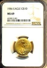 1986 $10 GOLD EAGLE 1/4 OZ  NGC MS69  GEM BU NEW HOLDER - SUPERB GEM - RARE DATE