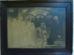 """Antique Print by Edwin Austin Abbey """"Quest For The Holy Grail"""""""