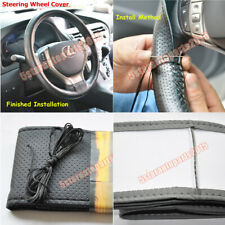 DIY Hand-Stitch PU Leather Steering Wheel Cover Φ38cm with Needle + Thread Black