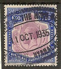 NYASALAND 1919 KGV £10 PURPLE & ROYAL BLUE SG99e