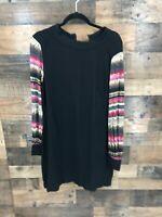 Trina Turk Women's Black Long Sleeve Shift Dress with Multicolor Print