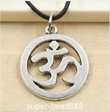 Fashion Tibetan Silver Pendant Yoga OM Necklace Choker Charm Black Leather Cord