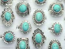 New5x Wholesale Mixed Lots Vintage Gemstone Siler P Turquoise Rings Jewelry Bulk