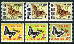 Viet Nam South J15-J20, MNH. Postage Due stamps. Atlas Moth, Butterflies, 1968