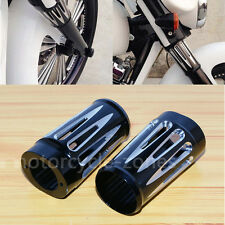 Black Edge Cut Aluminum Front Fork Boot Slider Cover Cow For Harley Touring FLT