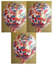 Clear Confetti Balloons Red, Navy Blue, White - Pack of 3 - Nautical Party etc