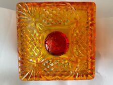 Heavy Vintage Cut Orange Persimmon Pedestal Candy Dish with Lid