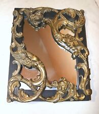 antique ornate gilt bronze wood figural serpent griffin grotesque wall mirror