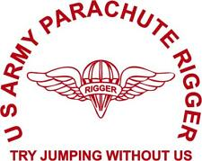 U S Army Parachute Rigger Die-Cut Vinyl Sticker for Car or Truck Window
