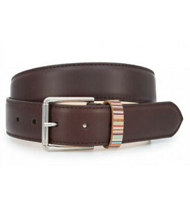 Paul Smith Mens Brown Signature Stripe Keeper Leather Belt Size 30