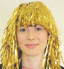 12 GOLD TINSEL WIGS  70'S /  80'S PARTIES HEN NIGHTS THEATRE STAGE PRODUCTION