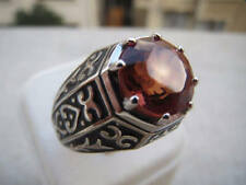 Solid 925 Sterling Silver Red Stone Handmade Boho Unisex Mens Ring Size 6 to 12