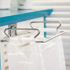 Large Stainless Steel Trash Bag Holder Rag Rack Holder Hang on Kitchen Cabinets