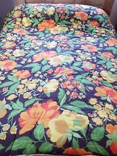 Vintage retro funky flower quilted double bedspread throw  60s 70s vw camper