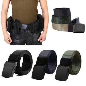 Men Outdoor Sports Military Tactical Nylon Waistband Canvas Belt UK