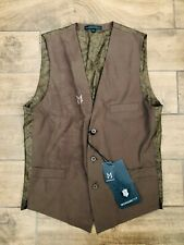 NWT Monarchy Brown Poly Rayon Button Up Vest Men's XXL