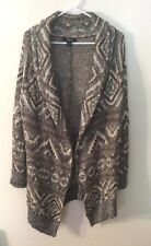 Womens Style & Co. Open Front Black/Brown/Tan Long Sweater, 1X, NWT