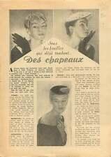Modiste chapeaux Hats Milliner Fashion Mode de Paris France 1953 ILLUSTRATION