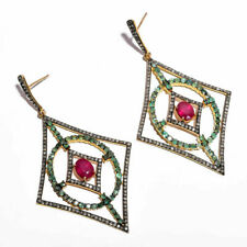 Natural Ruby & Emerald Gemstone jewelry 925 Solid Silver Pave Diamond Earring