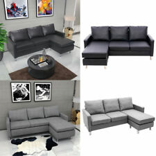L Shaped Corner Chaise Sofa Grey Fabric Black Faux Leather Modern Small 3 Seater