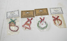 Christmas Ornament African Zulu Beaded Stocking Ornament Lot of 4