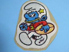*RARE VINTAGE* FOOTBALL SMURF PATCH EMBROIDERED PEEL AND STICK IRON-ON EMBLEM