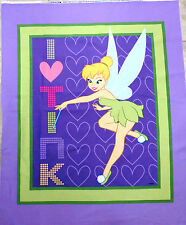TINKERBELL FABRIC quilt top I HEART TINK PANEL BRAND NEW DISNEY FABRIC  BTP new