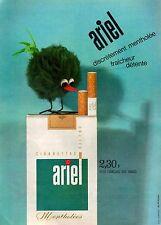 ▬► PUBLICITE ADVERTISING AD Cigarettes Tabac Tabacco  ARIEL Mentholées