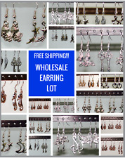 WHOLESALE Lot of 15 PAIRS of EARRINGS ON STERLING SILVER HOOKS : GIRLS JEWELRY