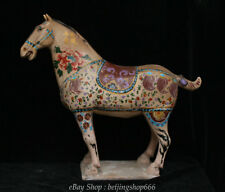 "18"" Rare Old Chinese Tang Sanci Porcelain Dynasty War Horse equine Animal Statue"