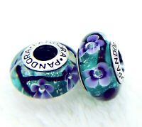 2 PANDORA Silver 925 ALE Murano Charm Purple Flower In Water Teal Beads #061