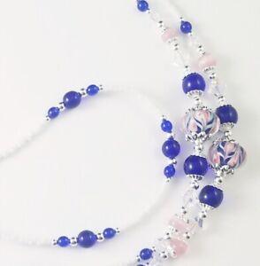 Beaded Lanyard~Blue & Pink Swirl~Swarovski Crystal~Badge ID Holder
