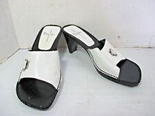 "Women's Shoes  LINEA PAOLO Black & White Slip On Sandal 3"" Heel Size 7 W  Italy"