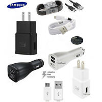 FOR Samsung Galaxy S6 S7 Edge Adaptive Fast Wall Charger Car Charger Cable