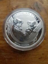 1oz Australian .999 SILVER Koala 2011 $1 BU bullion coin in capsule.