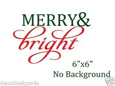 Merry & Bright Style 2 Christmas Decal Sticker for Glass Block Shadow Box Crafts