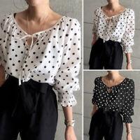Women's Polka Dot V Neck Long Sleeve Casual T-shirt Tops Loose Blouse Pullover
