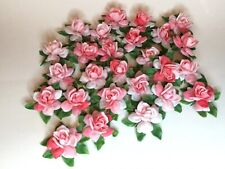 Lot of 26 Plastic Roses with Pin Backs Corsage Boutonniere Pink Flowers