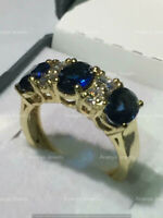 Estate 3-Stone Oval Blue Sapphire & Diamond Ring 14k Yellow Gold Over Band 5.2Ct