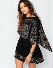 FREE PEOPLE Black Frida Sheer Batiste Embroidered Boho Chic Hippie Tunic Dress S
