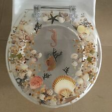 """Seahorse Seashells Acrylic Round shaped Toilet Seat Clear 17"""" INCH"""