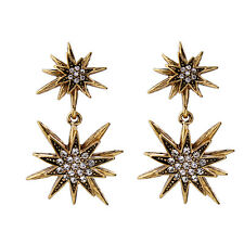 Nova Starburst Double Drop Earrings Gun Metal and Gold Mixed 2 Colors Pave