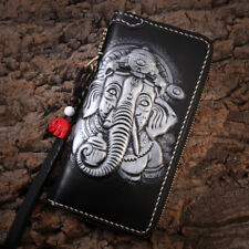 New Fashion Genuine Leather hand made men's long wallet elephant bifold wallet