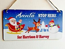 Santa Stop Here Christmas Sign Personalised Waterproof Hanging Sign Xmas Decor