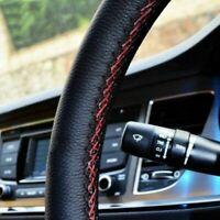 UK Luxury Cowhide Leather Car Truck Steering Wheel Cover + Thread + Needles RED